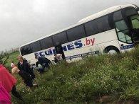 Заснув за кермом: під Києвом автобус з дітьми з'їхав у кювет (відео)