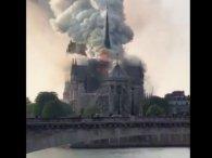 У палаючому Соборі паризької Богоматері обвалився шпиль (відео)