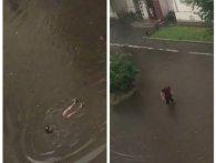 Ковельчани після зливи влаштували заплив у калюжі (фото, відео)